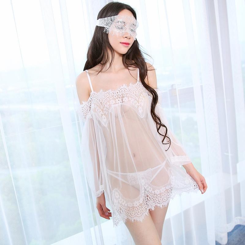 e0n3R grandi dimensioni nuovo merletto biancheria intima sexy set pigiami camicia da notte di pizzo prospettiva pigiama maglia sexyshoulder fata spalla della biancheria intima