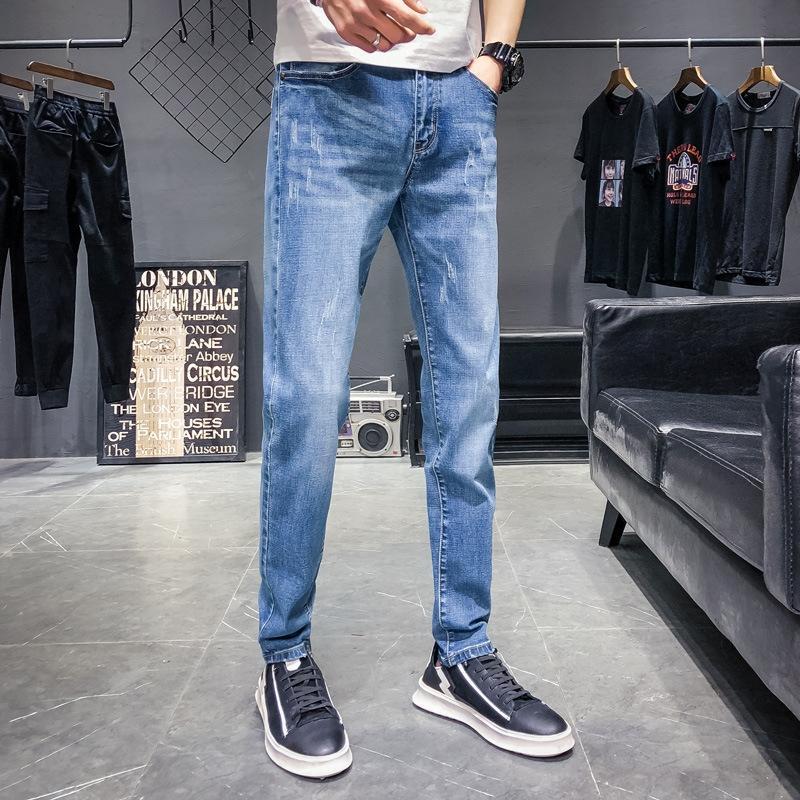 AMfmo Sommer-Jugend-und und Herbst dünne Jeans Sonnenschein Hosen der Männer im koreanischen Stil Stretch Slim-Fit-Jeans Kratzer weißen Hosen der Männer