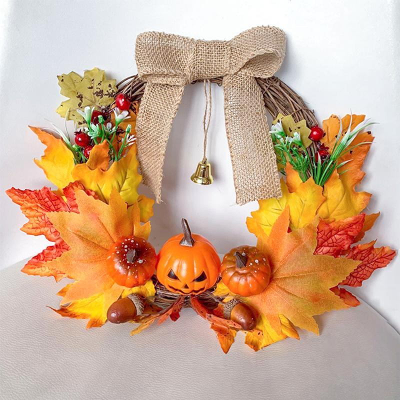 Weihnachtskranz handgemachte künstliche Anlage Rattan Wandbehang Girlande Ornament Hauptdekor für Halloween Thanksgiving-Weihnachten