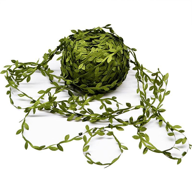 Шелковый листовидные Handmake Искусственные Зеленые листья для украшения венчания DIY Венок подарков Скрапбукинг Craft Поддельный цветок