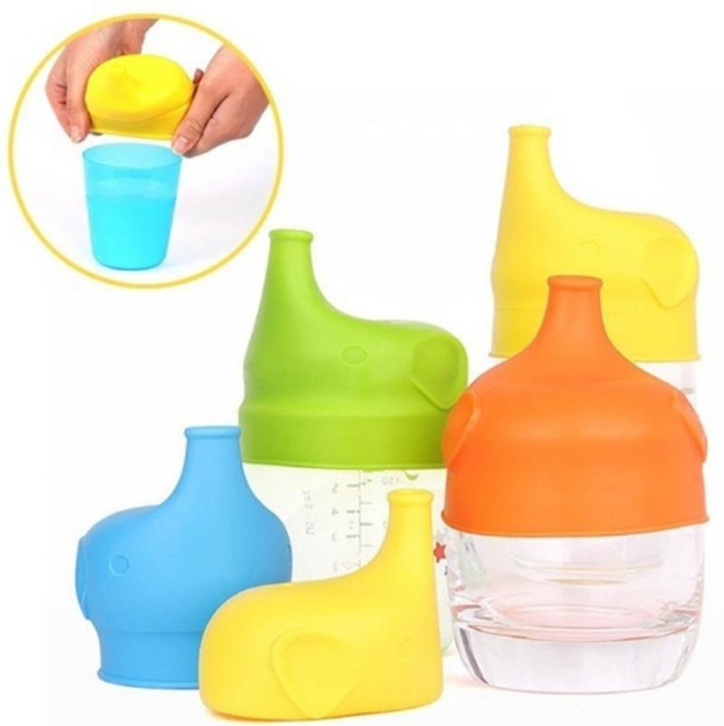 Silicone Sippy Tampas elefante em forma de taça tampa Reuseable Lid Leakproof Cup para crianças de água Garrafa Brinkware Ferramentas 5 cores 20pcs YW1083