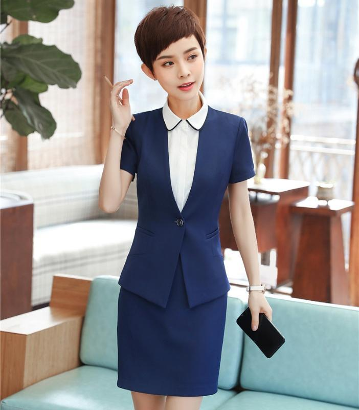 New Styles 2020 Summer Short Sleeve Formal Women Business Suits With Tops And Skirt For Ladies Career Interview Job Blazers