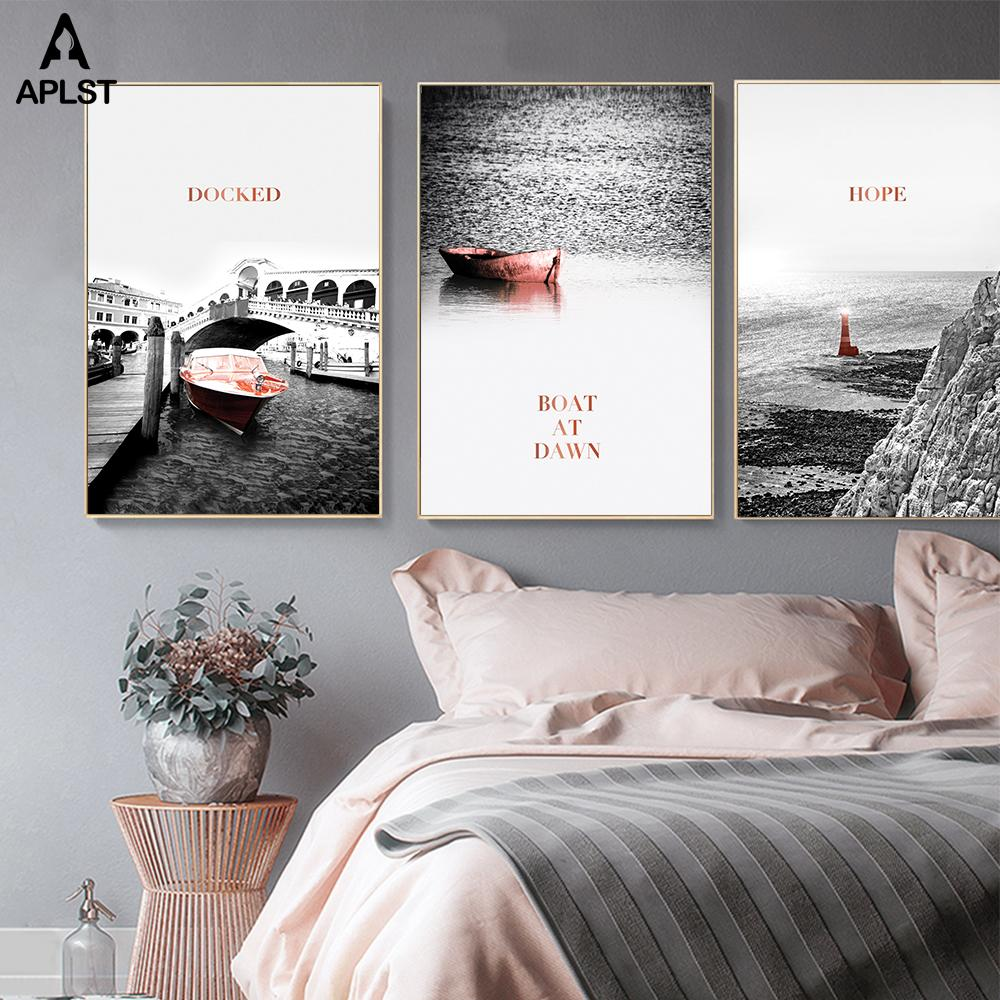 Landscape Canvas Poster Print Painting Venice Ocean Boat Lighthouse Black and White Wall Art Home Decor Picture for Living Room