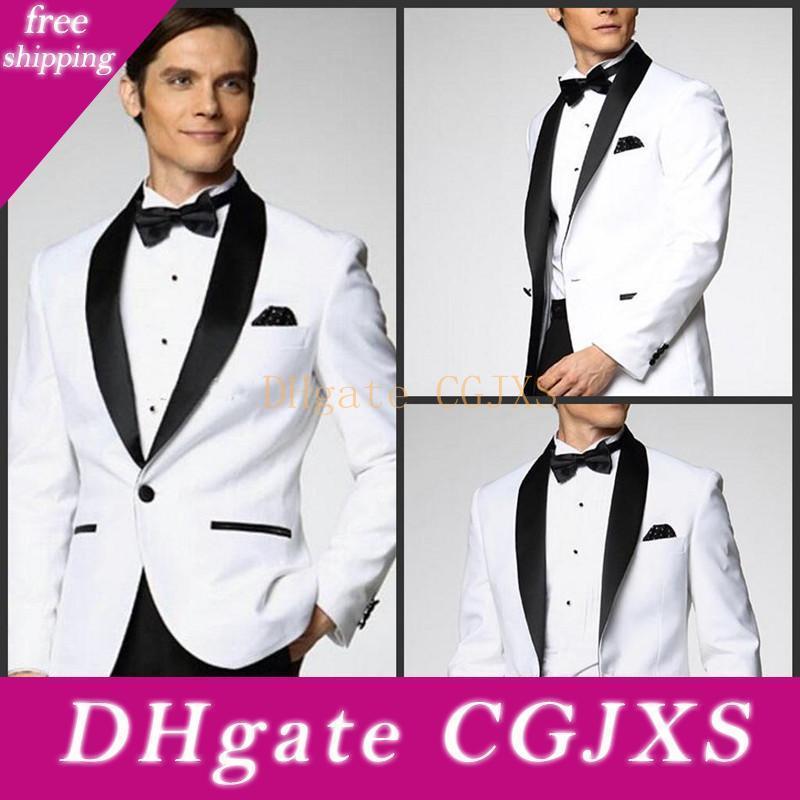 Nuovo stile eccellente smoking dello sposo un pulsante scialle bianco risvolto Groomsmen migliore vestito dell'uomo Abiti da sposa (Mens Pants Jacket Tie) 763
