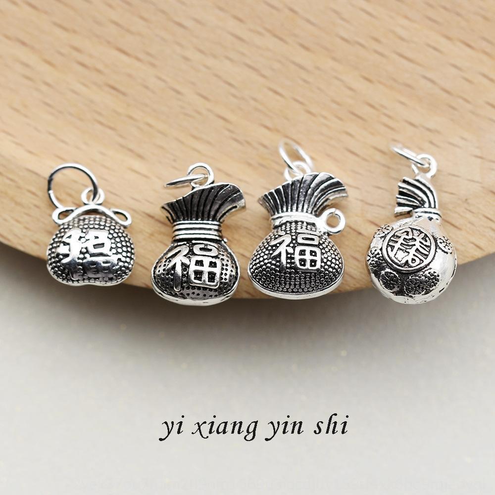 argento sterling S925 accessorio argento gioielli ciondolo Thai fortunato della borsa del ciondolo fatti a mano accessori braccialetto materiali