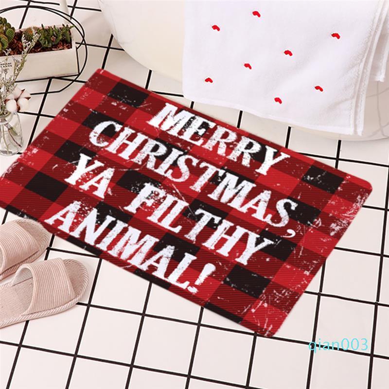 Natale Bath Rug moda decorativa assorbente antiscivolo doccia Tappeto stuoia di bagno cucina morbida stuoia del pavimento del portello di entrata