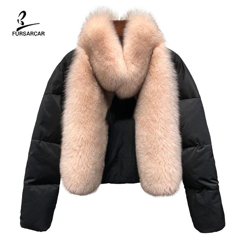 FURSARCAR 새로운 여우 모피 칼라 전체 피부 천연 여우 모피 코트 여성용 겨울 럭셔리 착실히 보내다 T200905 2020 리얼 모피 다운 자켓