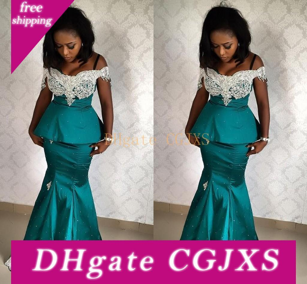 Aso Ebi African Prom Dresses 2019 Off The Shoulder Lace Appliques Long Cheap Evening Formal Gowns Pageant Celebrity Dress