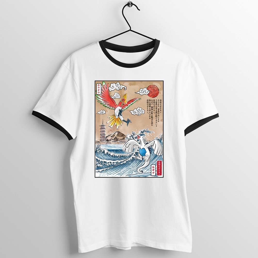 El ajuste negro camiseta legendaria batalla Lugia Vs Ho-Oh Impreso Tee