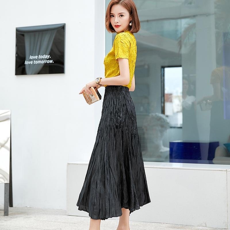 frDel Kadın 2020 Yaz yeni tatlı moda basit düzensiz elastik bel uzun etek, uzun Orta uzunlukta elbise etek
