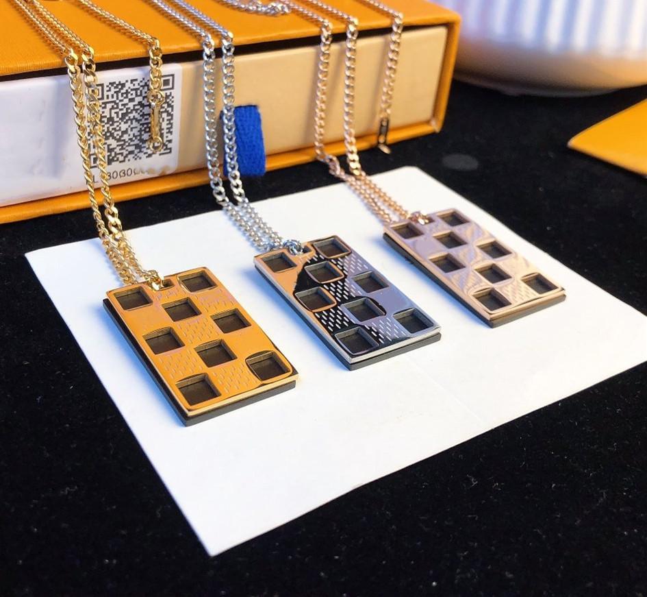 Colar de aço inoxidável chapeamento 18K Colar de Ouro real para o homem ou mulher Colar Duplo Geometric Checkered Colares