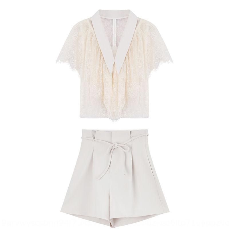 Graceful con scollo a V cucitura irregolare di pizzo di lana pizzo bicchierini della camicia delle donne del vestito della camicia 2020 Estate coreano vestito di stile pantaloncini 7iAv6
