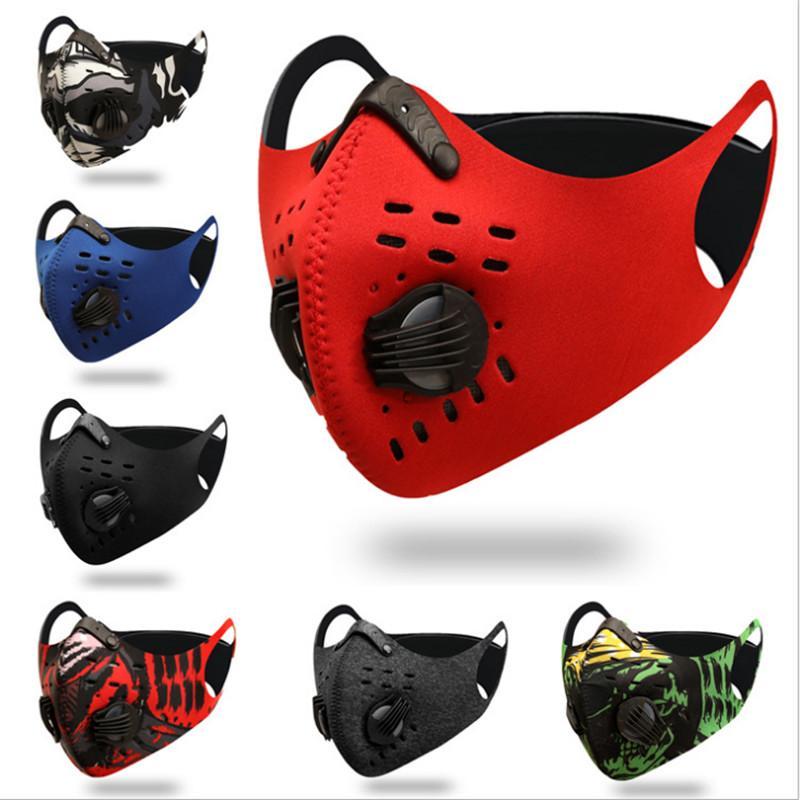 2020 Nuovo Ciclismo maschera di protezione Attivato Maschere di carbonio anti-fog antivento traspirante antipolvere protezione solare esterna Sport Ciclismo Fac