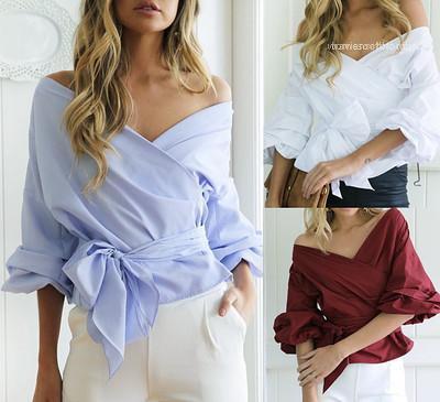 V-cuello del cortocircuito del verano más la ropa del vendaje atractivo de las mujeres camisa de la blusa del hombro de Letrán mangas cruce grande con arco Pepulm Diseño