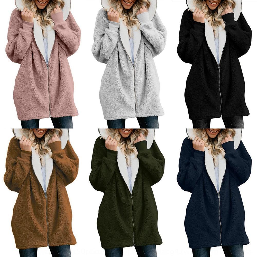 Clyut Frauen 2020 Herbst und Winter Lammwolle Reißverschluss Strickjacke warmen Mantel Plüsch warme Mantel Pullover Pullover
