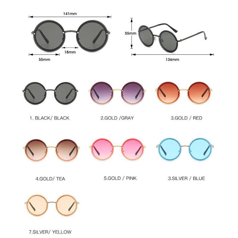 2020 Nouveau design spécial Rimless Lunettes de soleil femmes couleur plat Objectifs Plus de Metal Frame Round Fashion Style Lunettes gros