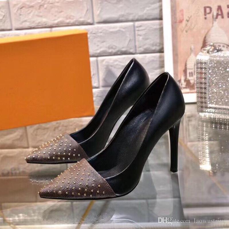 مصمم أحذية أحذية عالية الكعب قارب فصل الخريف فصل الربيع واشار الخناجر برشام جلد النساء الأحذية الأطراف الفاخرة مثير سيدة اللباس رسالة 35-42