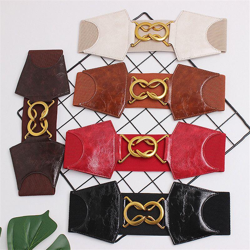 Cintos de couro Cummerbund For Women cinto Feminino Dupla fivela de cinto Moda Feminina Cintura cinta elástica