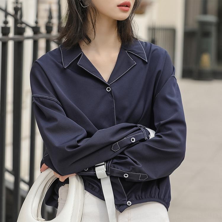 yDXSg 2020 Herbst neue Design Sinn Nische lernen lose koreanische Art Student Blase Hülse kurzes Hemd V-Shirt für Frauen Lernen