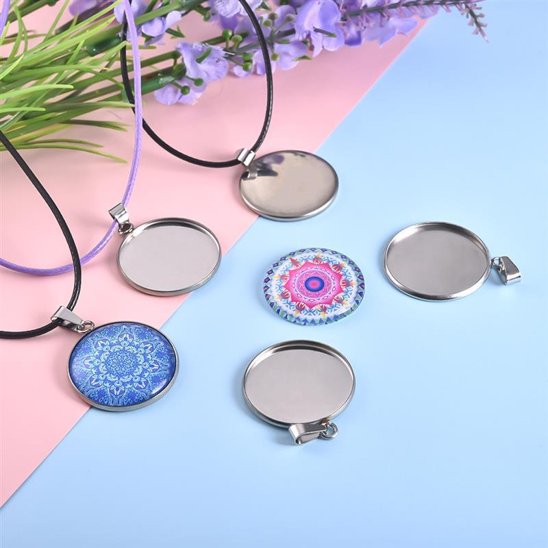 20pcs Stainless Steel Blanks Pendant Base Settings Cabochon Round 10/12/14/16/18/20/25/30mm Bezel Trays Jewelry Making Supplies