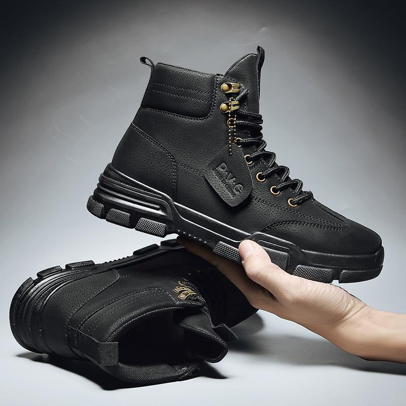 Cálido Invierno vertvie Hombres Botas de cuero PU impermeable masculino botas de nieve hecho a mano del tobillo de Trabajo top del alto zapatos de los hombres de calzado