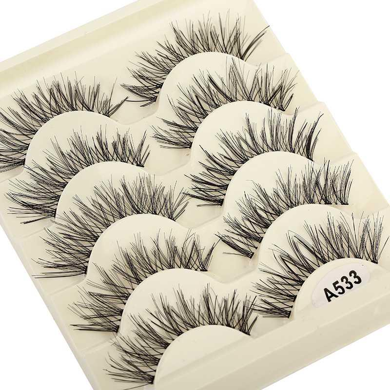 5 Pairs 3D Faux Mink Hair Soft False Eyelashes Cross Fluffy Wispy Thick Lashes Handmade Transparent Stem Makeup Extension Tools