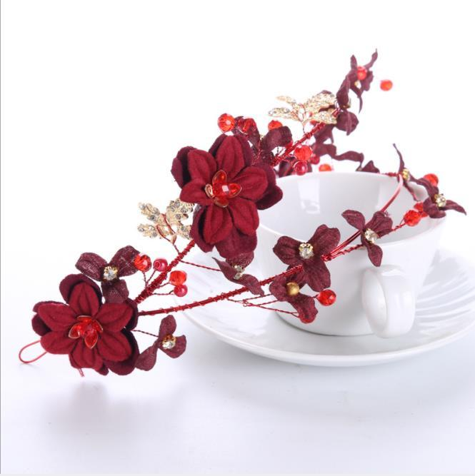 Casamento Vermelho flores bridal headwear vinho casamento cabelo vermelho foto de estúdio acessórios