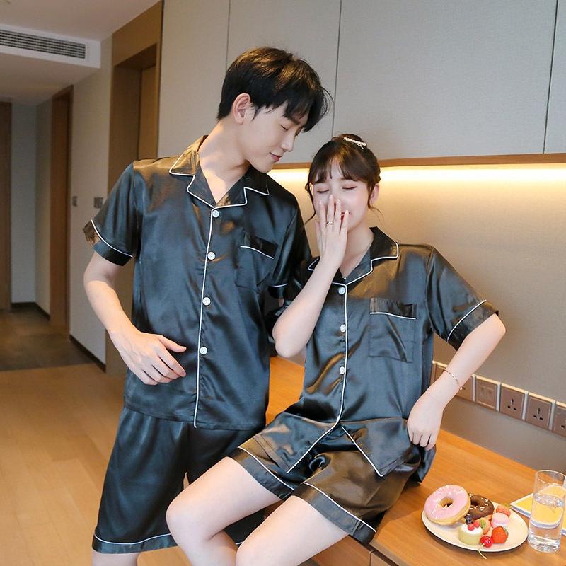 iPzbF été mariage soie comme printemps pyjamas pour femmes et couples de glace de soie automne pantalon à manches courtes maison mariage mince robe pour hommes s