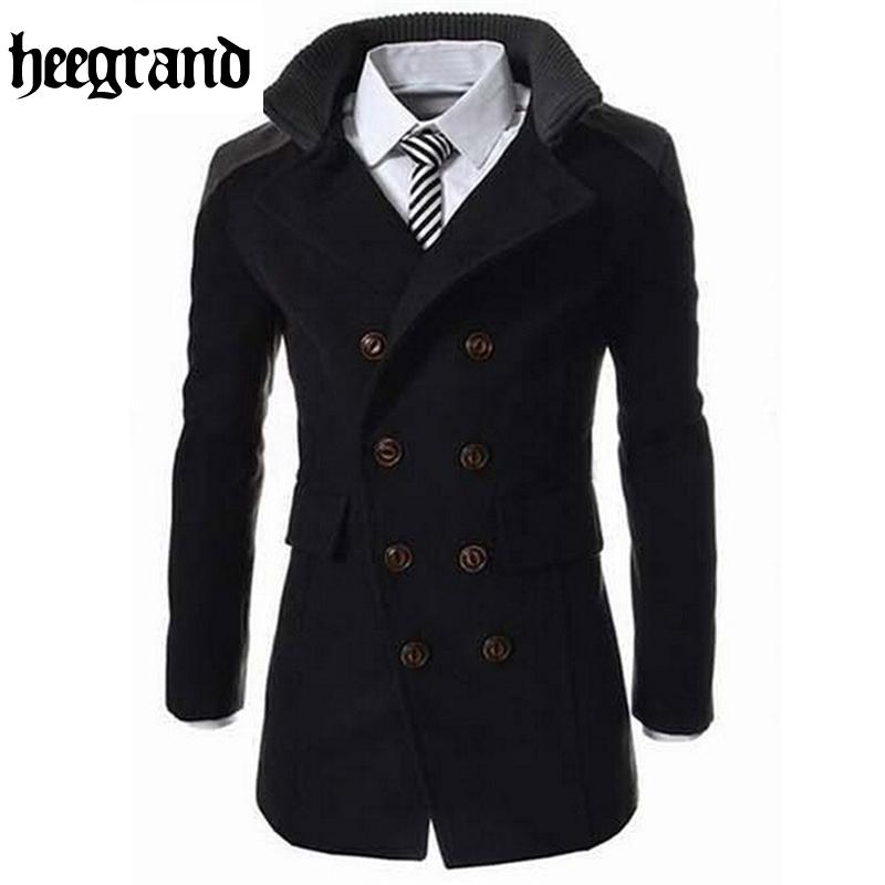 HEE GRAND 2020 Fashion Men's Autumn Winter Coat Turn-down Collar Wool Blend Men Pea Coat Double Breasted Winter Overcoat MWN113