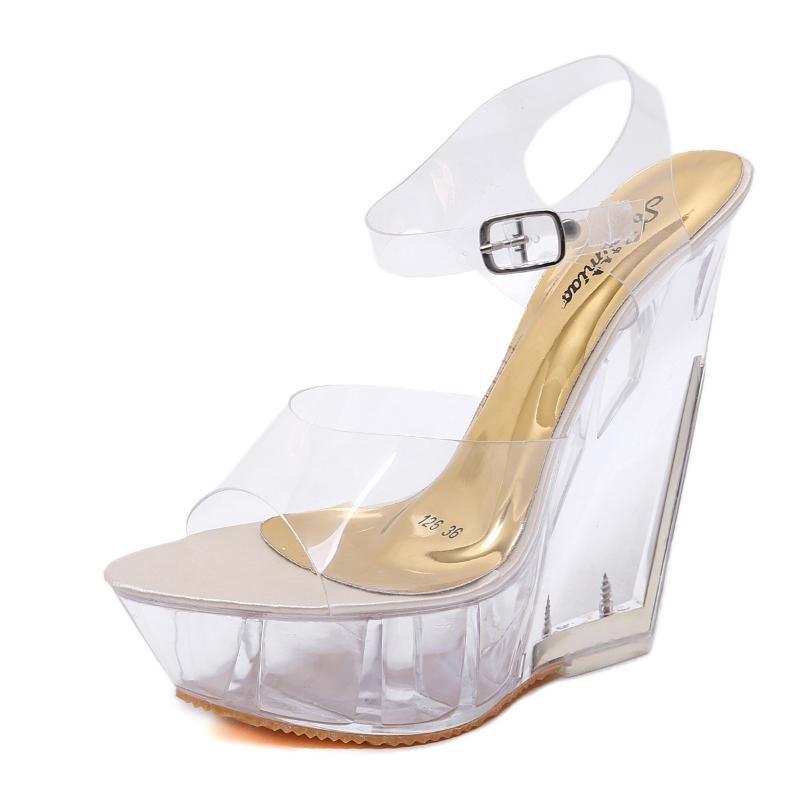 Women Summer Shoes Transparent Crystal