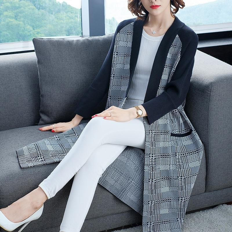стиль женщин птица внешний вязаный кардиган свитер пальто 2020 осень / зима новой моды все соответствует середине длины свитер пальто шаль