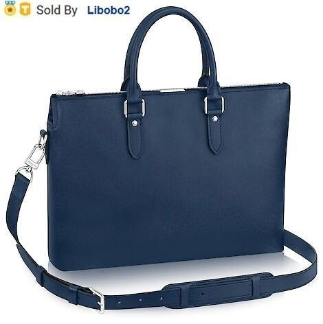 libobo2 Lambskin M34401 ANTON SOFT BRIEFCASE MEN CLASSIC BLUE Real Caviar Le Boy Chain Flap Bag HANDBAGS SHOULDER MESSENGER BAGS TOTES