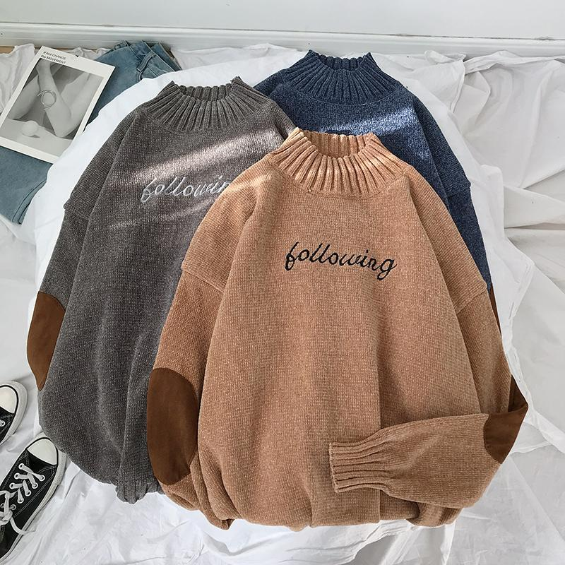 Nakış Siyah balıkçı yaka kazak Erkekler Streetwear Örme Erkek Kış Süveter erkekler 2019 Kazak Turtleneck Uzun