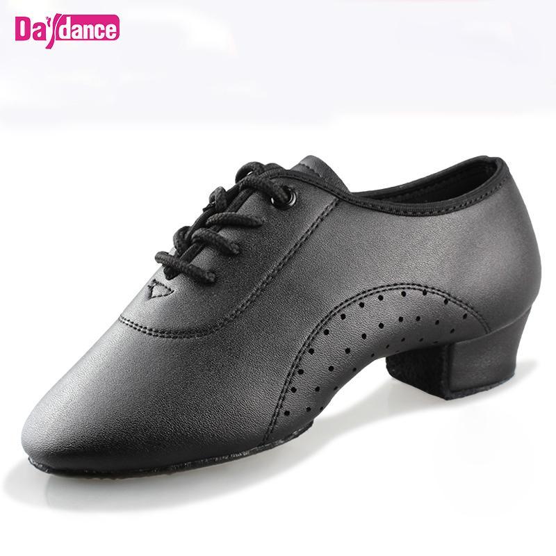 Erkek Çocuklar için Erkekler Dans Siyah Düşük Topuklar Balo Dans Tango Salsa Rumba Modern Latin Ayakkabı