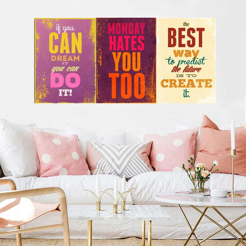 Gohipang Motivational Typography Life Quotes A4 Vintage Retro Art Prints Poster Hippie Wall Pictures Canvas Painting Home Decor