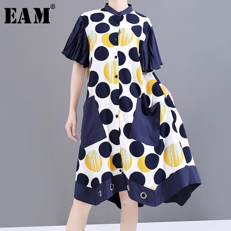 [EAM] Mulheres Dot Impresso Irregular Big Tamanho do vestido novo stand Collar manga curta soltas Fit Moda Primavera-Verão 2020 1W181