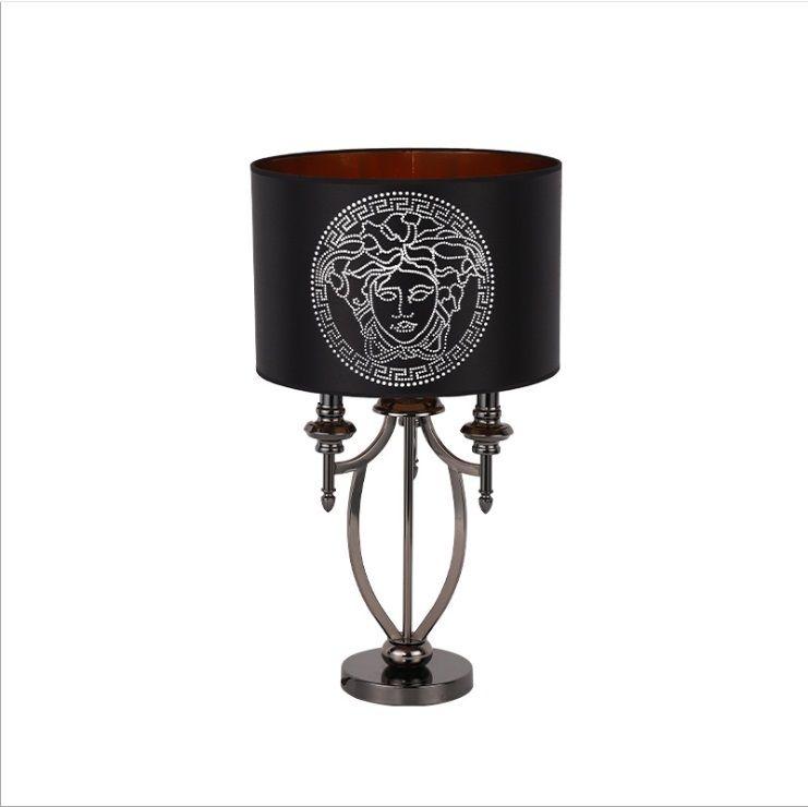 Modern simple new classical creative hardware fashion high grade lamp soft installed living room villa bedside bedroom ornamental desk lamp