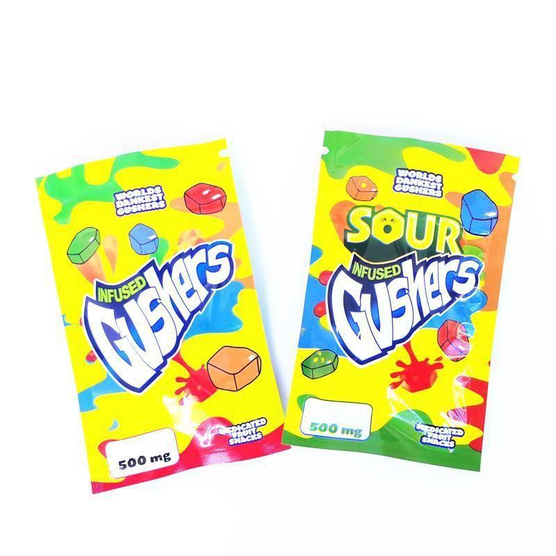 Odore Gummy Edibles Zipper Gushers Mylar nuovi imballaggi vuoti Sour Proof Bag 2020 busta richiudibile 500mg MMJ2010 cHFnb