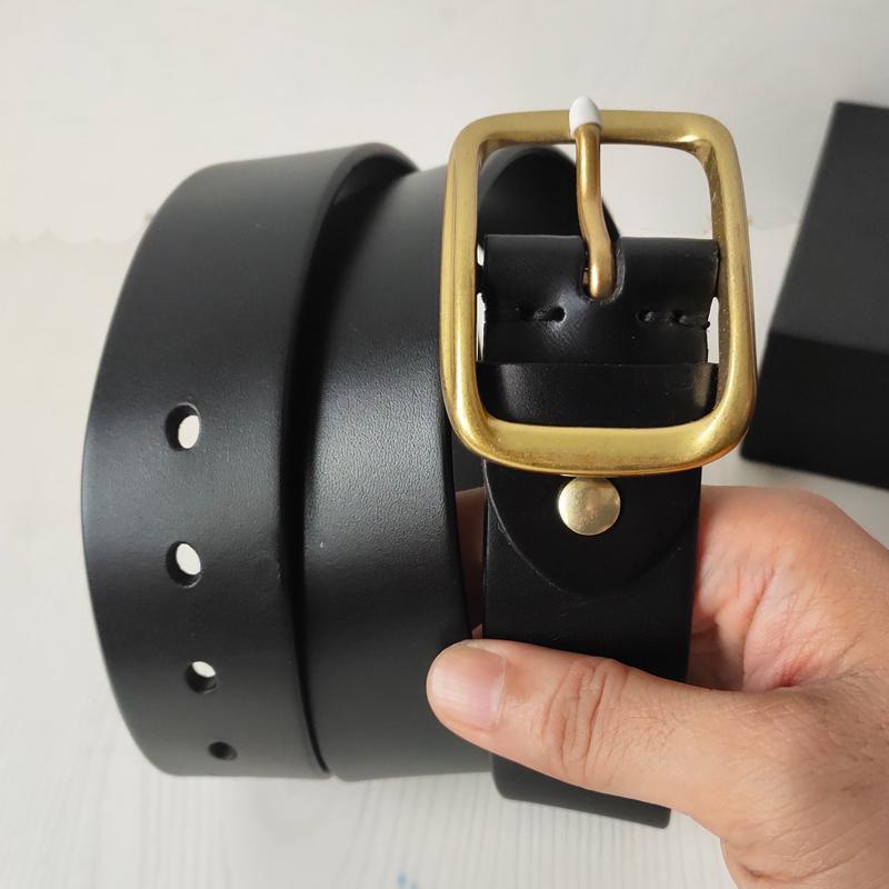 Correa de la manera de los hombres de la correa de las mujeres de la correa de bronce grande de la hebilla de correas de cuero genuinas cinturones clásicos CEINTURE 2.0-3.8cm con la caja