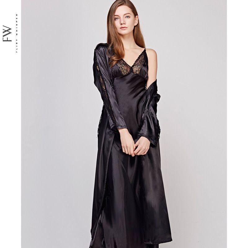 Осень New выдалбливают Long Раздел Женщины Robe Set Lace Sexy Спагетти ремень Кардиган Twinset Халат Y200429