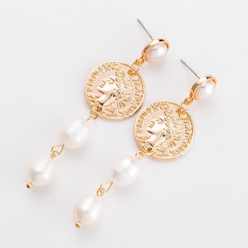 Designer der neuen Art und Weise Perle personalisierte Münze kreative Perlen und Ohrringe geometrischen Metall Ohrringe