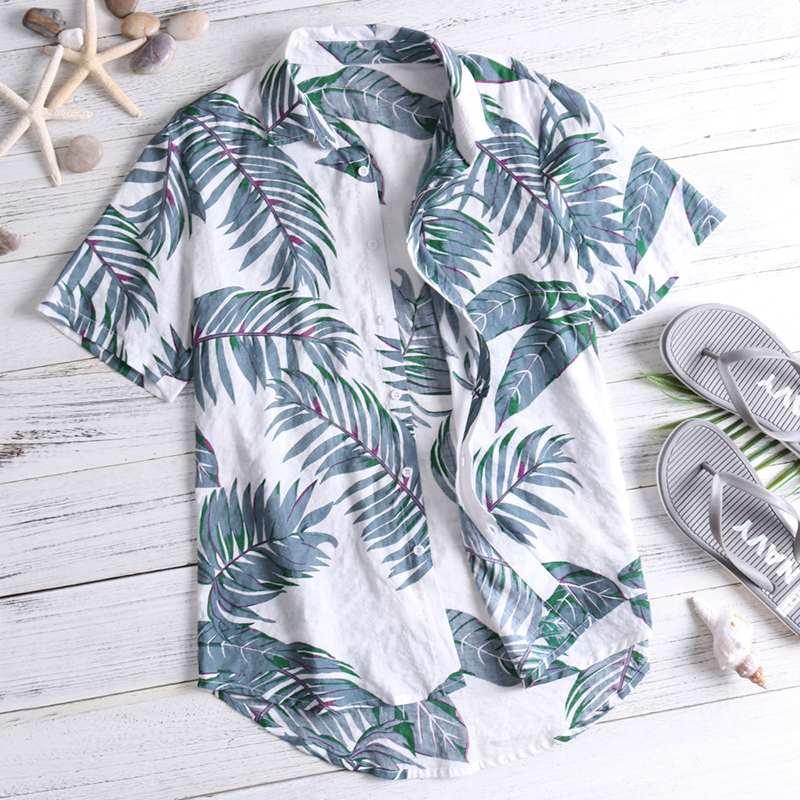 2020 Море рубашки тропических рубашки Цветочные лето Мужчины Tops Casual Гавайская рубашка с коротким рукавом Хлопок нагрудные кнопки Камиза Tee