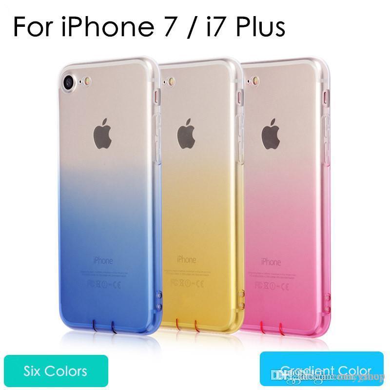 Para iPhone iPhone 6 6S 11 pro max 7 8 Plus Ultra Casos finas para iPhone X XS Max XR Limpar TPU gradiente de cor Fundas com plugue poeira