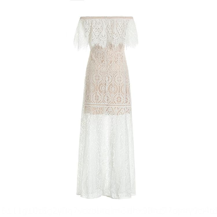 Kvolr Li Qin gleiches weißes Hohl-out Flounced Kragen Spitze Spitzenkleid elegantes dünnes Kleid E1210