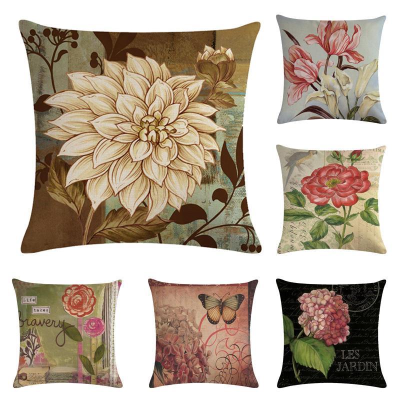 45 centímetros * 45cm rosas antigos e crisântemos linho concepção / algodão fronhas throw sofá almofada capa de casa almofadas decorativas