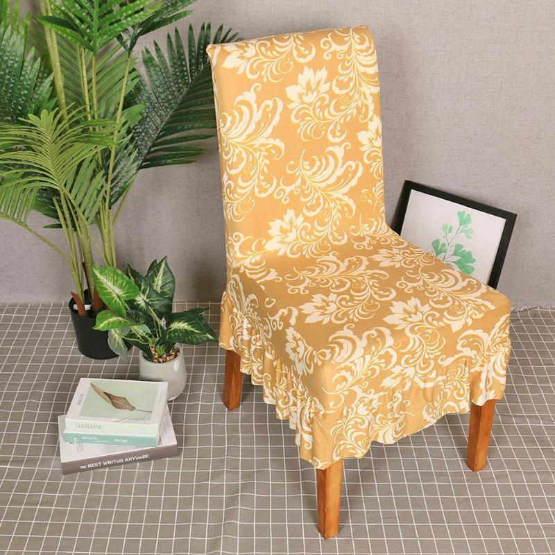 Dünne Goldmuster Stuhl-Abdeckung gekräuseltes Removable Polyester-Faser dünne Abdeckung Hotels Bankett-Stretch Elastic Home Textile