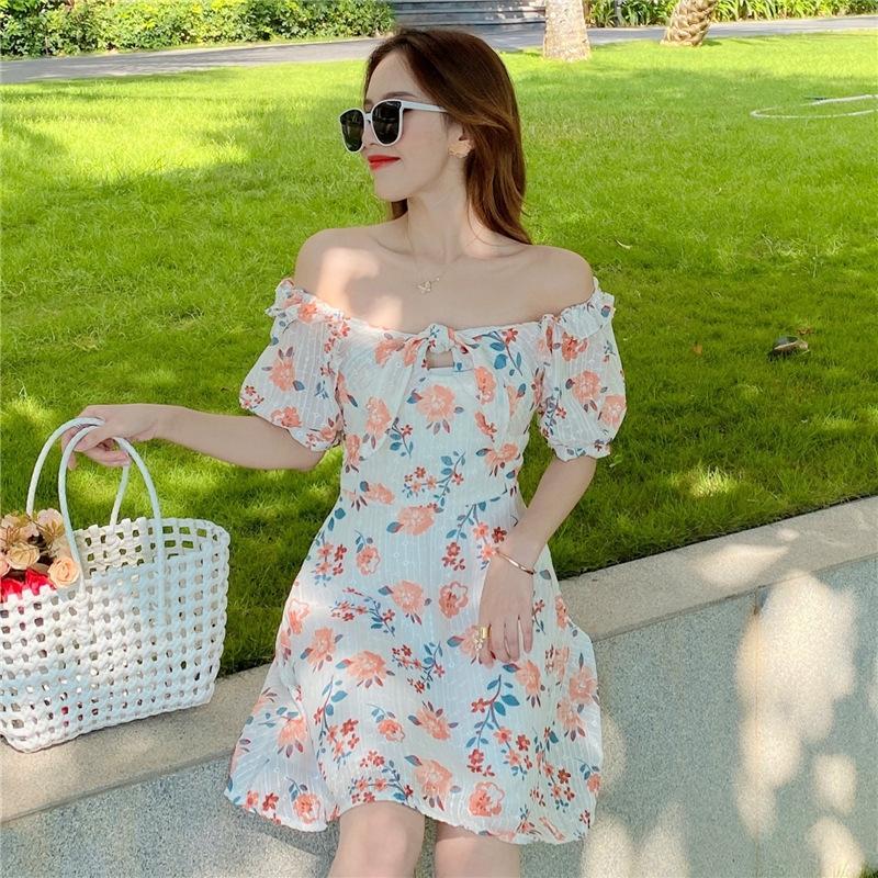 nuevo estilo coreano de gasa de hadas de vestir la burbuja cuadrada de la gasa de la cintura del collar de la manga falda Xty2U 2020 verano niños de la falda de flores