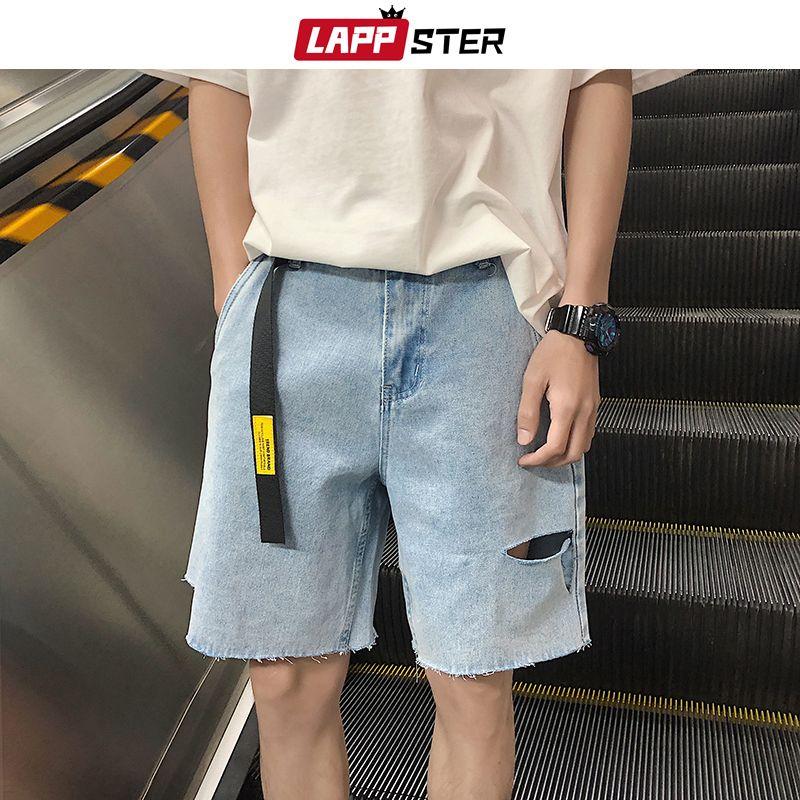 LAPPSTER Verão grátis Men Belt Buraco Jeans Shorts 2020 Mens Streetwear Hip Hop Denim Shorts Formas ocasionais Harajuku Corredores INS MX200814