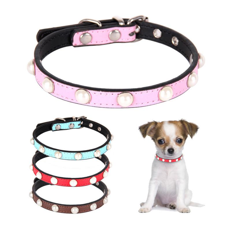 New Pearl Decoration Pet Dog Collar Necklaces Leather Soft Durable Small Puppy Chihuahua Walking Necklace Collar Accessories