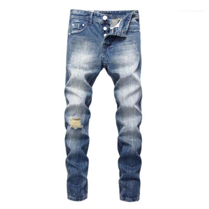 Брюки Fit Большой размер дизайнер Мужские джинсы Тонкие Stretch Лето Hole Синий Повседневный Тонкий прямой джинсы Мода Новые кнопки Джинсовые брюки мужчина